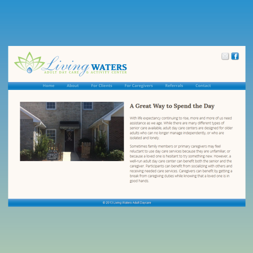 Living Waters Adult Daycare Website